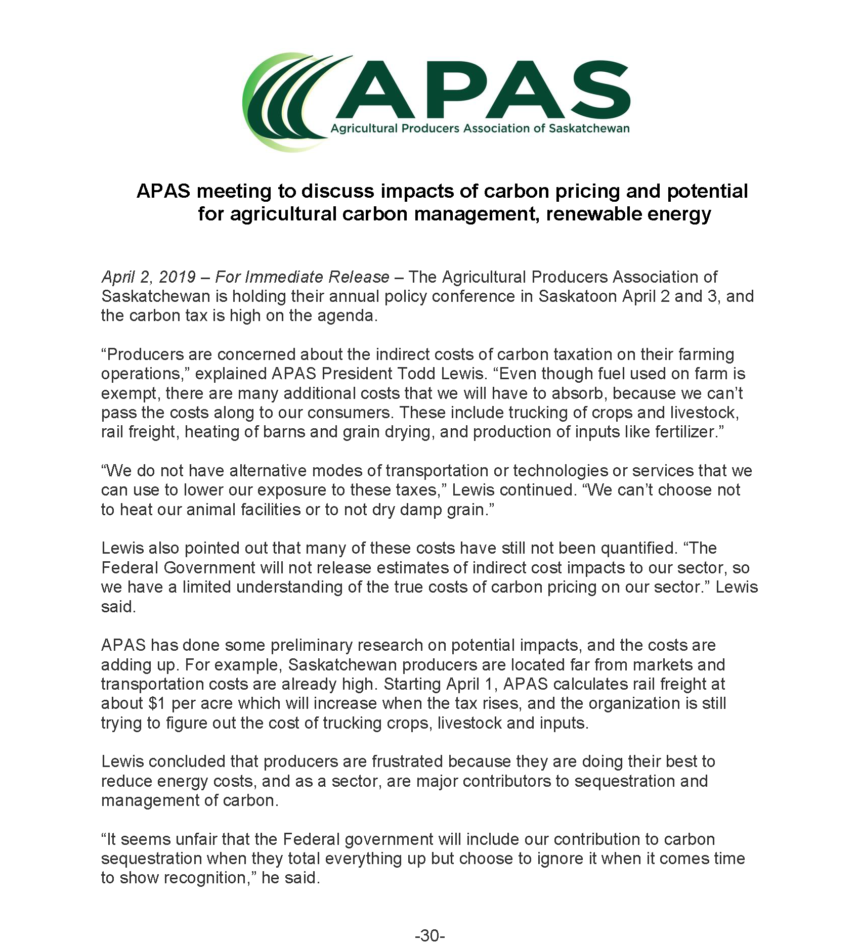 30ba2e9f2d41f April 2, 2019 – For Immediate Release – The Agricultural Producers  Association of Saskatchewan is holding their annual policy conference in  Saskatoon April ...